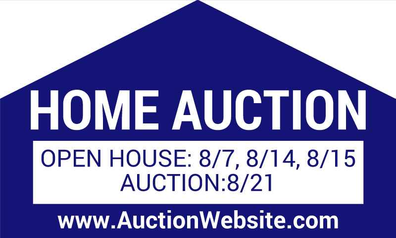 Home Auction Sign with Open House Dates & Website: 36